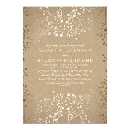 gold foil effect babys breath wedding invitations zazzle
