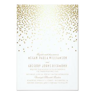 Gold Foil Effect Confetti Art Deco Wedding Card