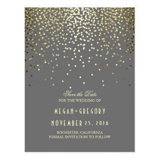 gold foil effect confetti elegant save the date postcard