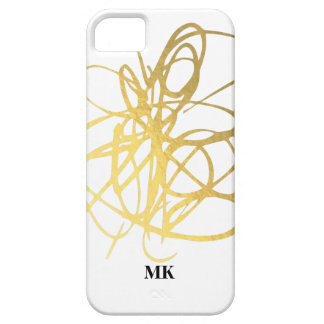 Gold Foil Effect Initials Phone Cover - Ink Lines iPhone 5 Cover
