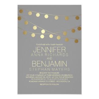 Gold Foil Effect String Lights Wedding Card