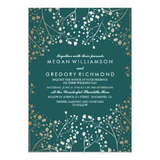 Gold Foil Effect Teal Baby 39 S Breath Wedding Card