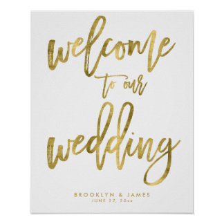 Gold Foil Effect Welcome To Our Wedding Sign