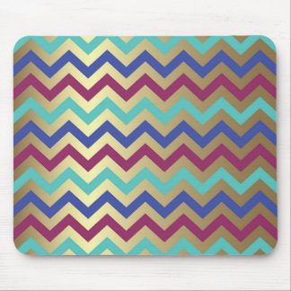 Gold Foil Egyptian Chevron Sea Blue Periwinkle Mouse Pad