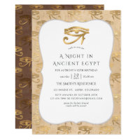 Gold Foil Egyptian Themed Party Invitation