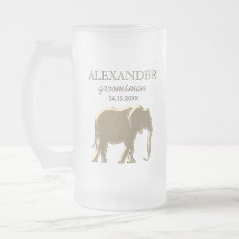 Gold Foil Elephant Elegant Groomsman Monogrammed Frosted Glass Beer Mug