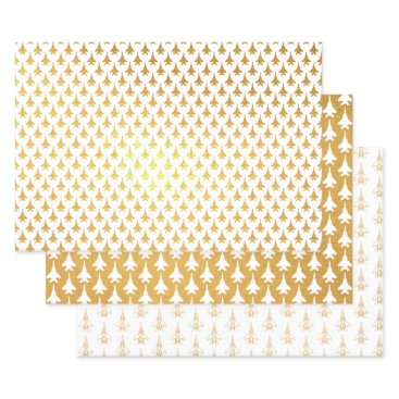 Gold Foil F-15 Fighter Jet Gift Wrapping Paper