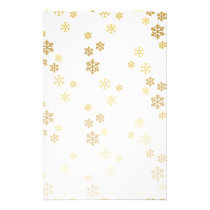 Gold Foil Falling Snowflakes Stationery