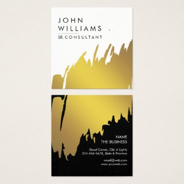 Professional Business Gold Foil Faux Brushed Strokes Professional modern Square Business Card