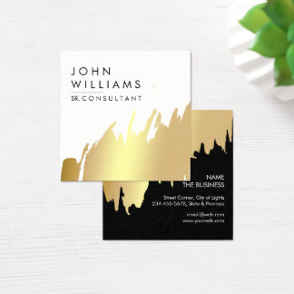 Gold Foil Faux Brushed Strokes Professional modern Square Business Card