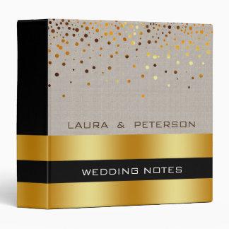 Gold Foil Faux Glitter Cream Confetti Wedding Binder