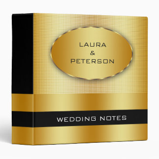 Gold Foil Faux Glitter Wedding Binder