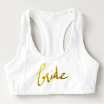 Gold Foil Faux Pattern Girly Bride Script Sports Bra