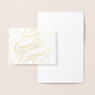 Gold Foil Feliz Cumpleaños Princesa Birthday Foil Card