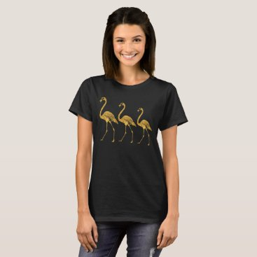 Beach Themed Gold Foil Flamingos T-Shirt