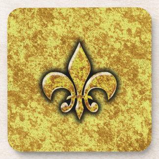 Gold Foil Fleur De Lis Beverage Coaster