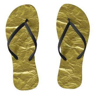 Gold Foil Flip Flops