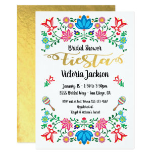 Gold Foil Floral Mexican Fiesta Bridal Shower Invitation