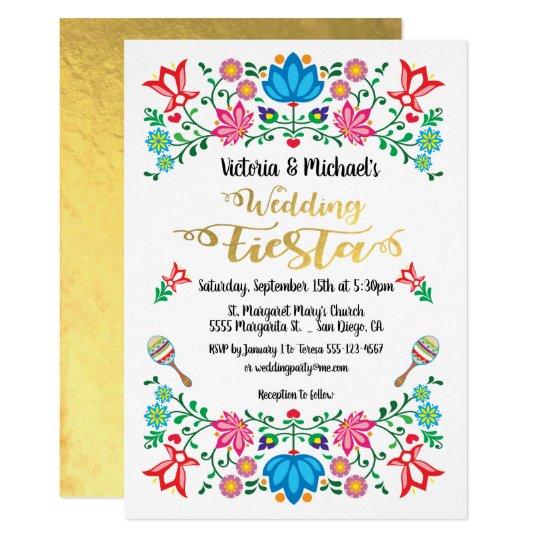 Gold Foil Floral Mexican Wedding Fiesta Invitation Zazzle Com