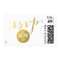 Gold Foil Glamor | Custom Date RSVP Postage