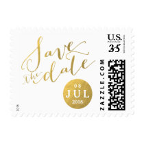 Gold Foil Glamor Date | Save the Date Postage