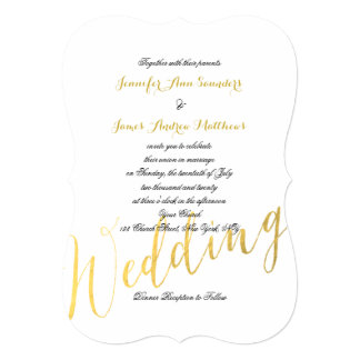 "Gold Foil Glamor | Elegant Wedding Invitations 5"" X 7"" Invitation Card"