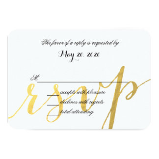 Gold Foil Glamor   Modern Wedding RSVP Card