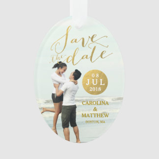 Gold Foil Glamor   Photo Save the Date Holiday Ornament