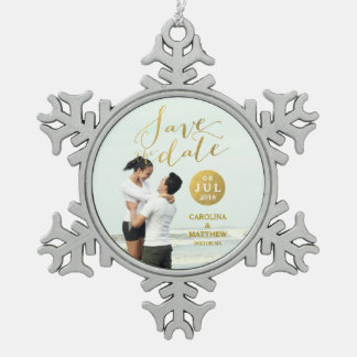 Gold Foil Glamor | Photo Save the Date Holiday Snowflake Pewter Christmas Ornament