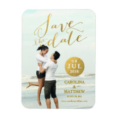 Gold Foil Glamor | Photo Save The Date Magnet at Zazzle
