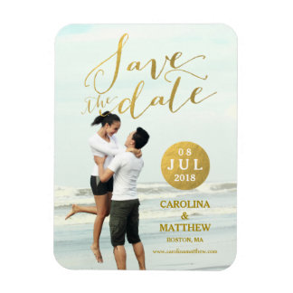 Gold Foil Glamor | Photo Save the Date Magnet