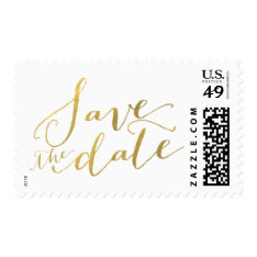 Gold Foil Glamor   Save The Date Postage at Zazzle