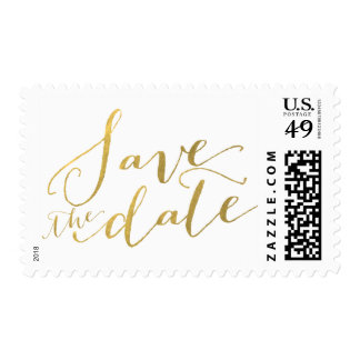 Gold Foil Glamor Save the Date Postage