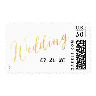 Gold Foil Glamor   Wedding Date Postage