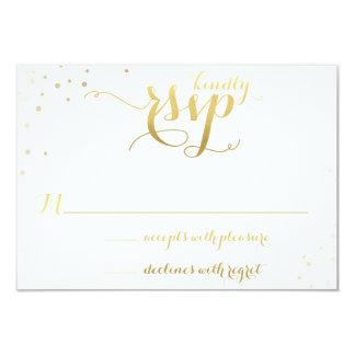 "Gold Foil Glamour Wedding Invitation RSVP Card 3.5"" X 5"" Invitation Card"