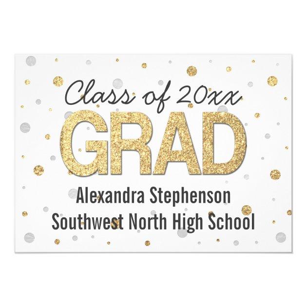 Gold Foil Glitter Confetti Graduation Party Custom 5x7 Paper Invitation Card
