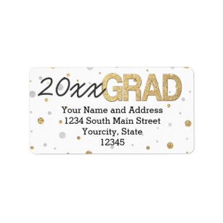 Gold Foil Glitter Confetti Graduation Party Custom Address Label