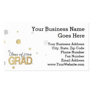 Gold Foil Glitter Confetti Graduation Party Custom Business Card