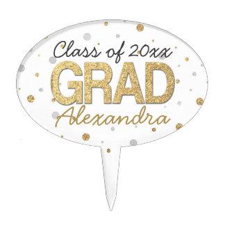 Gold Foil Glitter Confetti Graduation Party Custom Cake Topper
