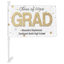 Gold Foil Glitter Confetti Graduation Party Custom Car Flag