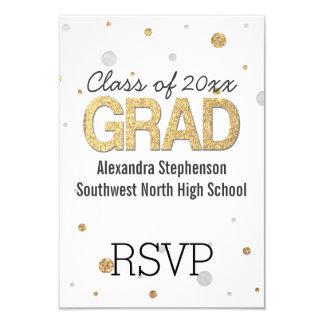 Gold Foil Glitter Confetti Graduation Party Custom Card