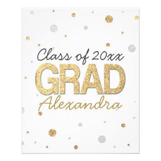 Gold Foil Glitter Confetti Graduation Party Custom Flyer