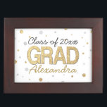 "Gold Foil Glitter Confetti Graduation Party Custom Keepsake Box<br><div class=""desc"">Festive confetti dots and circles with printed gold glitter and silver foil effects. Add your custom graduation year and name or other text for a fun personalized graduation gift. Metallic look is modern and trendy.</div>"