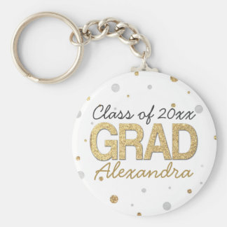 Gold Foil Glitter Confetti Graduation Party Custom Basic Round Button Keychain