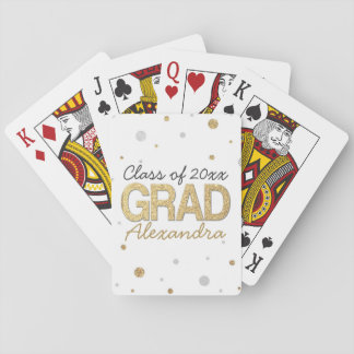 Gold Foil Glitter Confetti Graduation Party Custom Playing Cards
