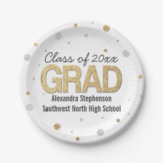 Gold Foil Glitter Confetti Graduation Party Custom 7 Inch Paper Plate