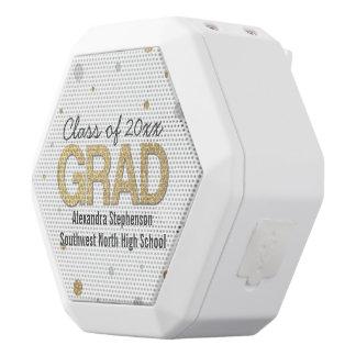 Gold Foil Glitter Confetti Graduation Party Custom White Bluetooth Speaker