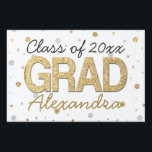 "Gold Foil Glitter Confetti Graduation Party Custom Yard Sign<br><div class=""desc"">Festive confetti dots and circles with printed gold glitter and silver foil effects. Add your custom graduation year and name or other text for a fun personalized graduation gift. Metallic look is modern and trendy.</div>"