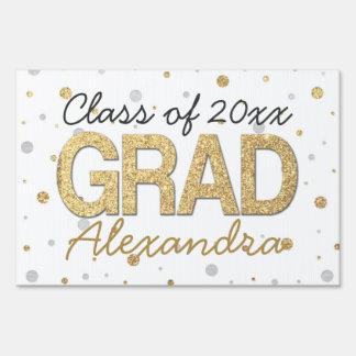 Gold Foil Glitter Confetti Graduation Party Custom Yard Signs