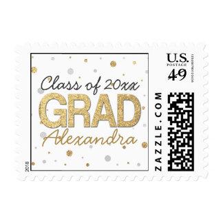 Gold Foil Glitter Confetti Graduation Personalized Postage Stamp